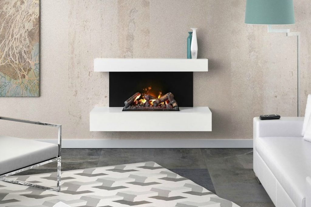 Contemporary electric fireplace with fire logs