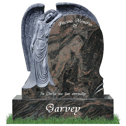 Angel Holding a rose carved from granite