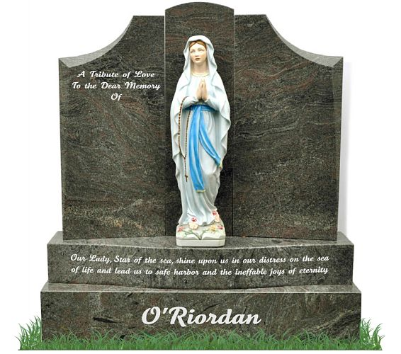 Catholic Headstone with Our Lady Statue