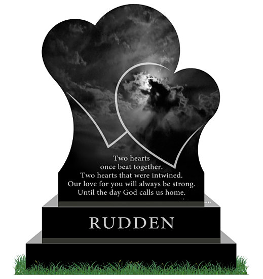 Headstone with two hearts in Black Granite