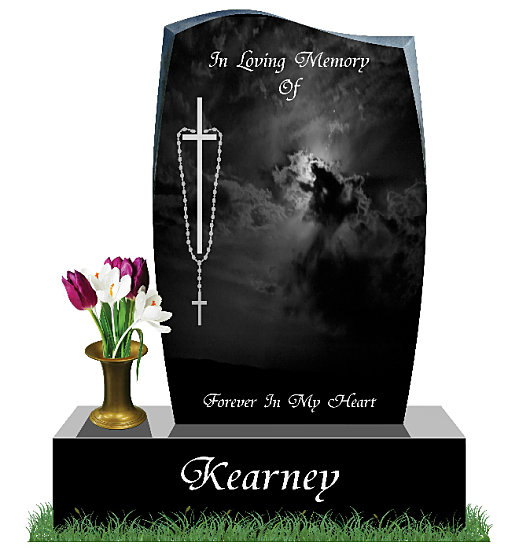 current Headstone with Flowers