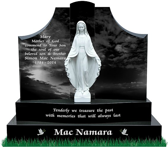Gates of Heaven Headstones with our Lady statue