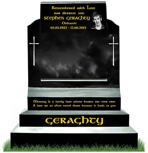 Large Page Scroll tombstone with photo