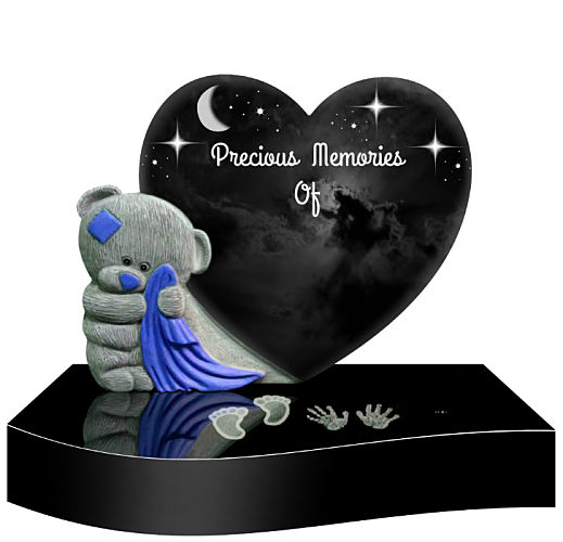 Baby headstone with teddy bear and heart