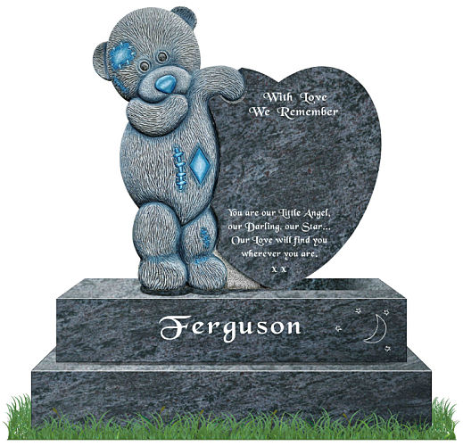 Teddy Bear carved from granite on headstone
