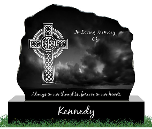 Rough cut granite Tombstone with Celtic cross engraved