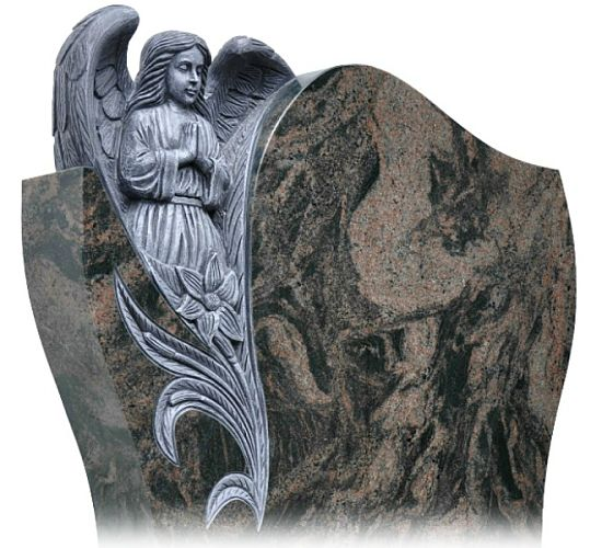 Granite Gravestone with Angelic Carving