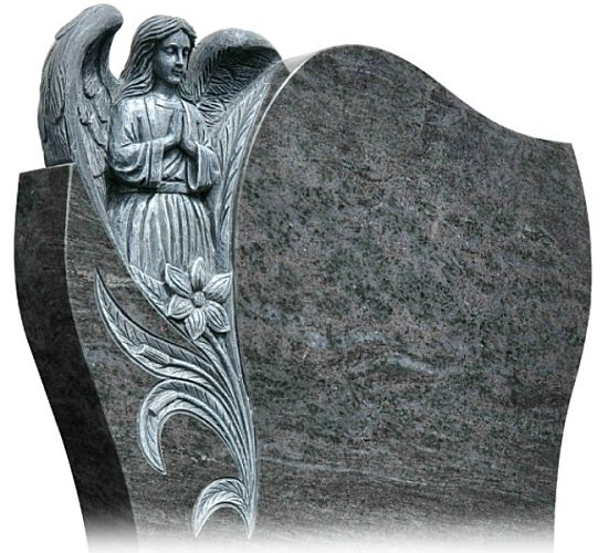 Angel with wings carved from stone