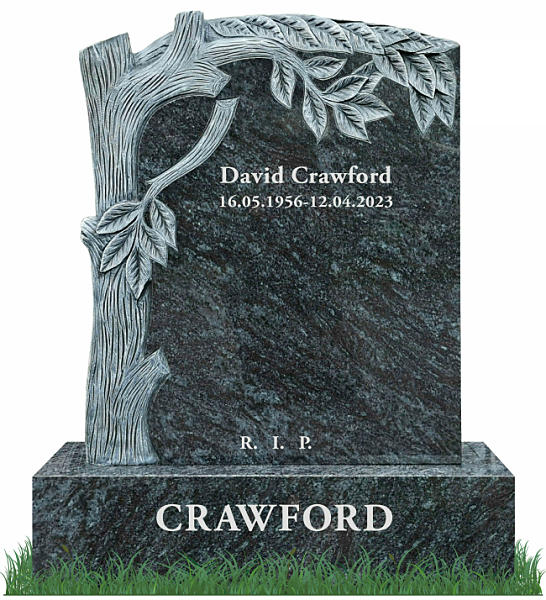 Granite Headstone with Tree Carving